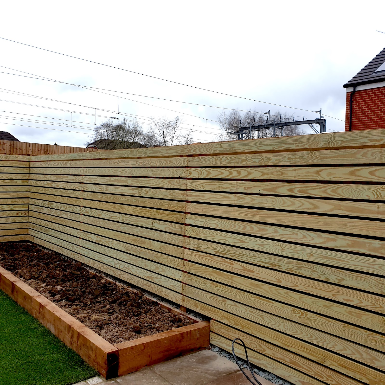 Yellow southern pine slatted fencing