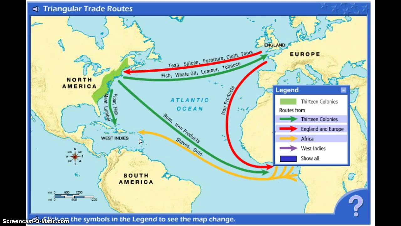 Image result for triangular trade map