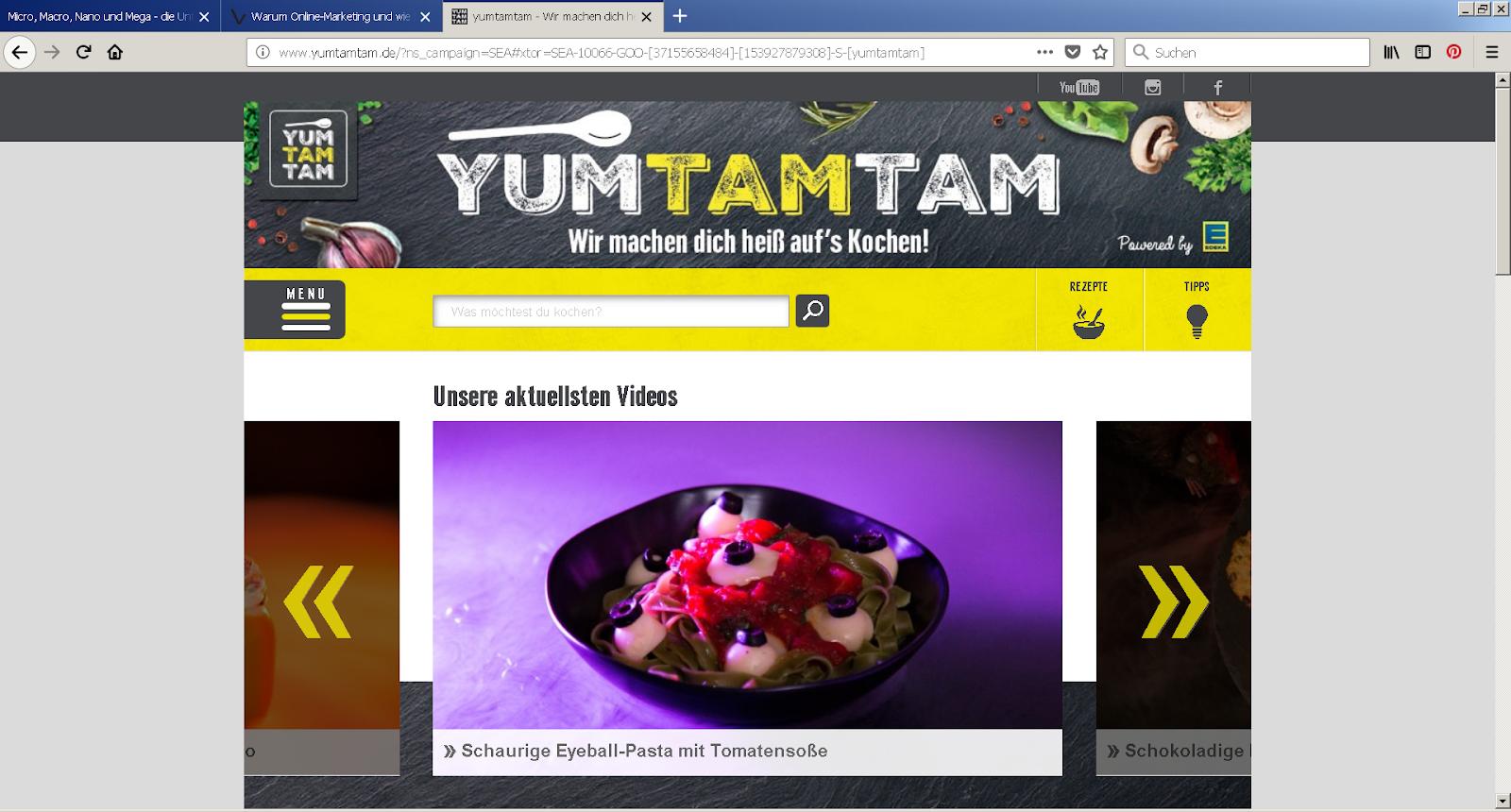 Kochkanal yumtamtam auf YouTube