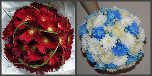 Свадебные букеты из хризантем круглой формы