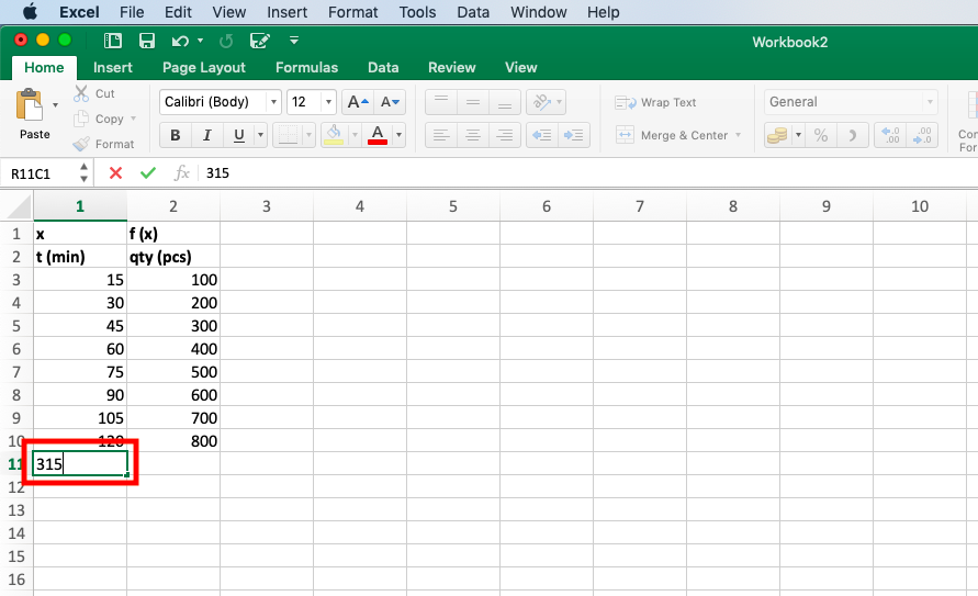 "We add the following value of the argument: 315 in the ""x"" column - Extrapolate in Excel"