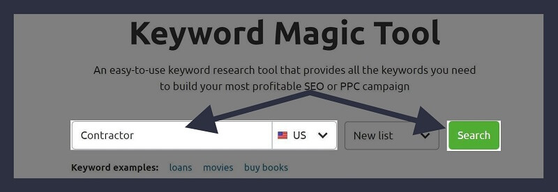 SEMRush-Type Keyword & Choose Location