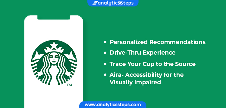 Starbucks features on mobile include the app which gives personalized recommendations, better drive-thru experience, and lets you trace your cup to the source, and integration with Aira.