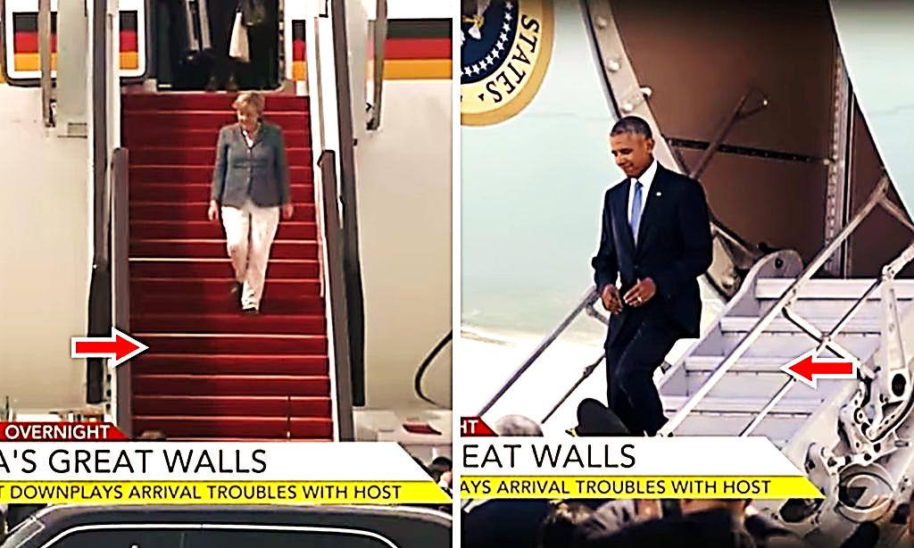 'Sự cố ngoại giao' thể hiện thái độ coi thường của Trung Quốc đối với tổng thống Obama trong chuyển thăm Trung Quốc vào năm 2016. Để so sánh, Thủ tướng Angela Merkel đi trên thảm đỏ (trái), ông Obama đi lối cửa sau của máy bay bằng thang thường (phải).