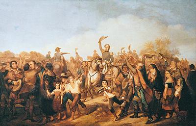 Dom Pedro I ergue seu chapéu em cima de um cavalo ao redor de uma aglomeração.