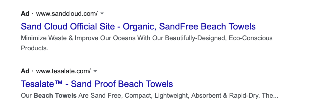 ad showing search result