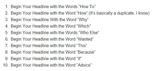 """A headline that reads """"begin your headline with words like how to, how, why and which""""."""