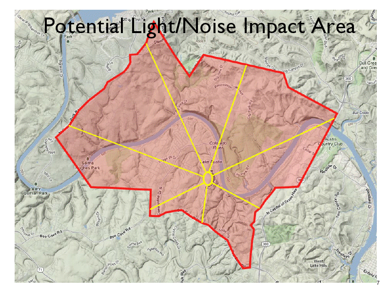 Picture of the anticipated area of impact by light trespass and noise pollution if the project is built.