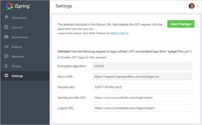 SSO settings page in iSpring Learn system