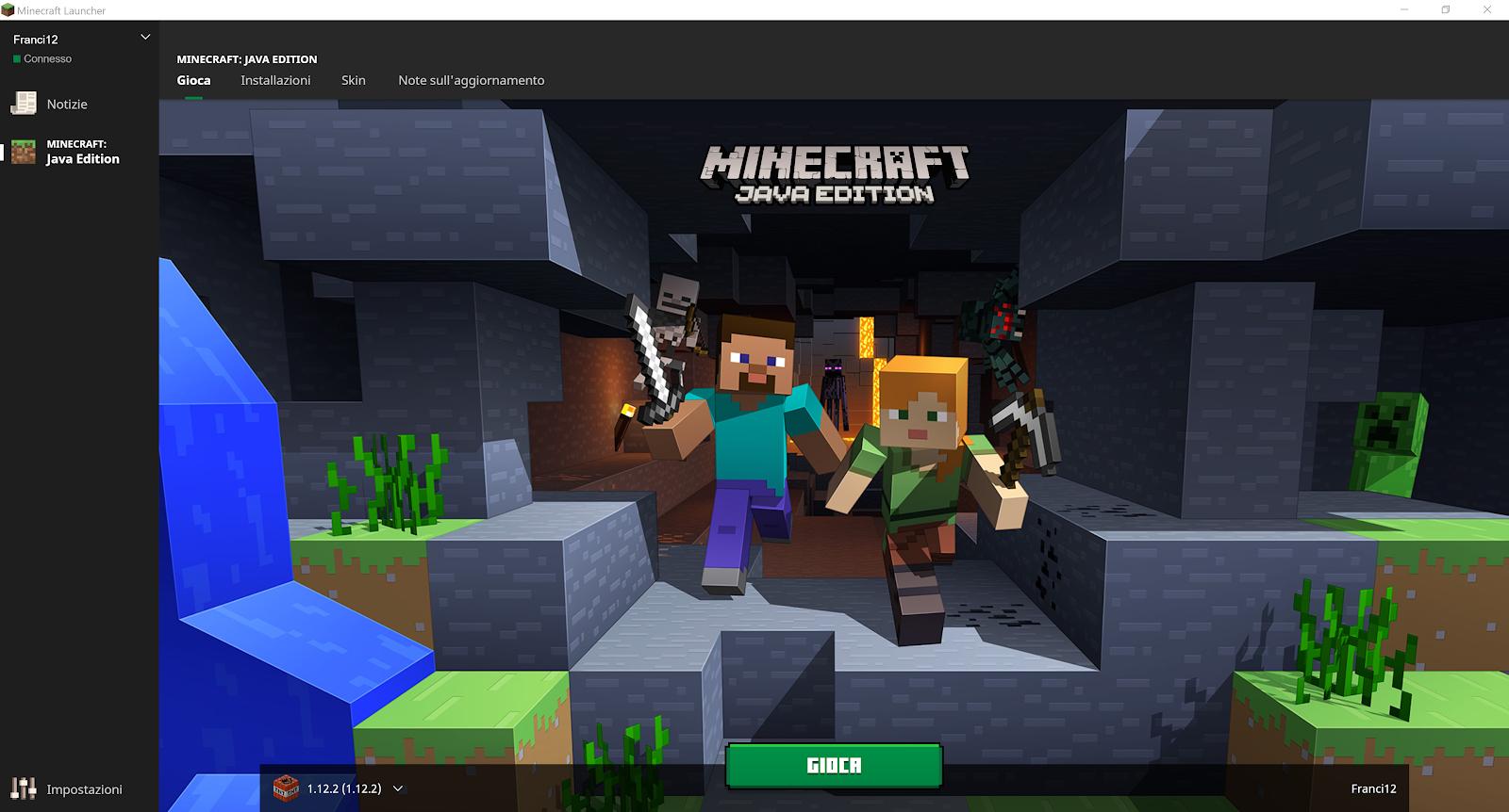 """Schermata Principale di Minecraft - Cliccare nel menu in alto la sezione """"Installazioni"""", per proseguire col tutorial su come dedicare più RAM a Minecraft."""