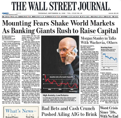 Cover of newspaper example: The Wall Street Journal