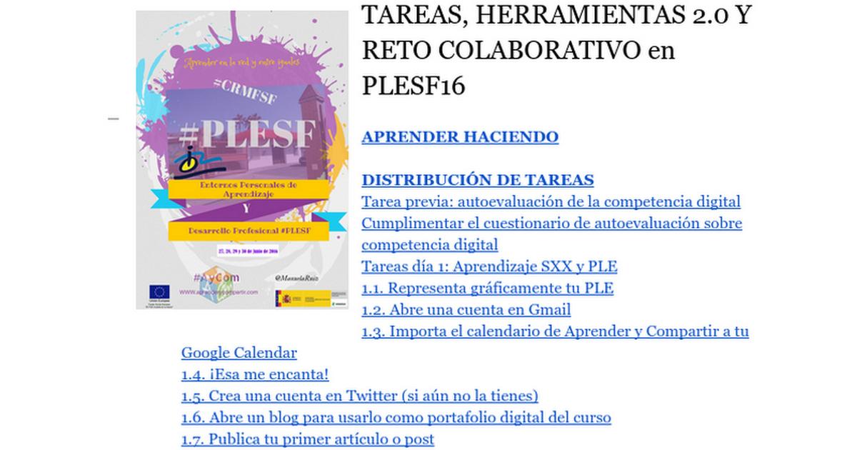 Thumbnail for TAREAS-HERRAMIENTAS y RETO COLABORATIVO-PLESF16
