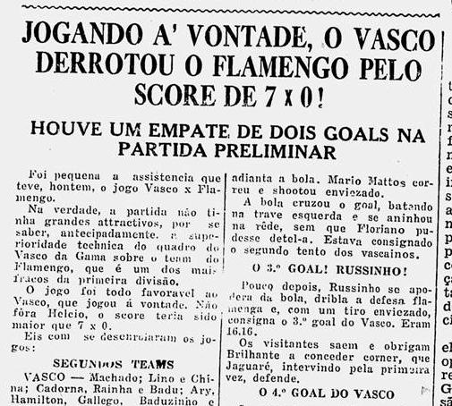 Uma das 5 maiores goleadas sofridas pelo Flamengo: Vasco 7x0.