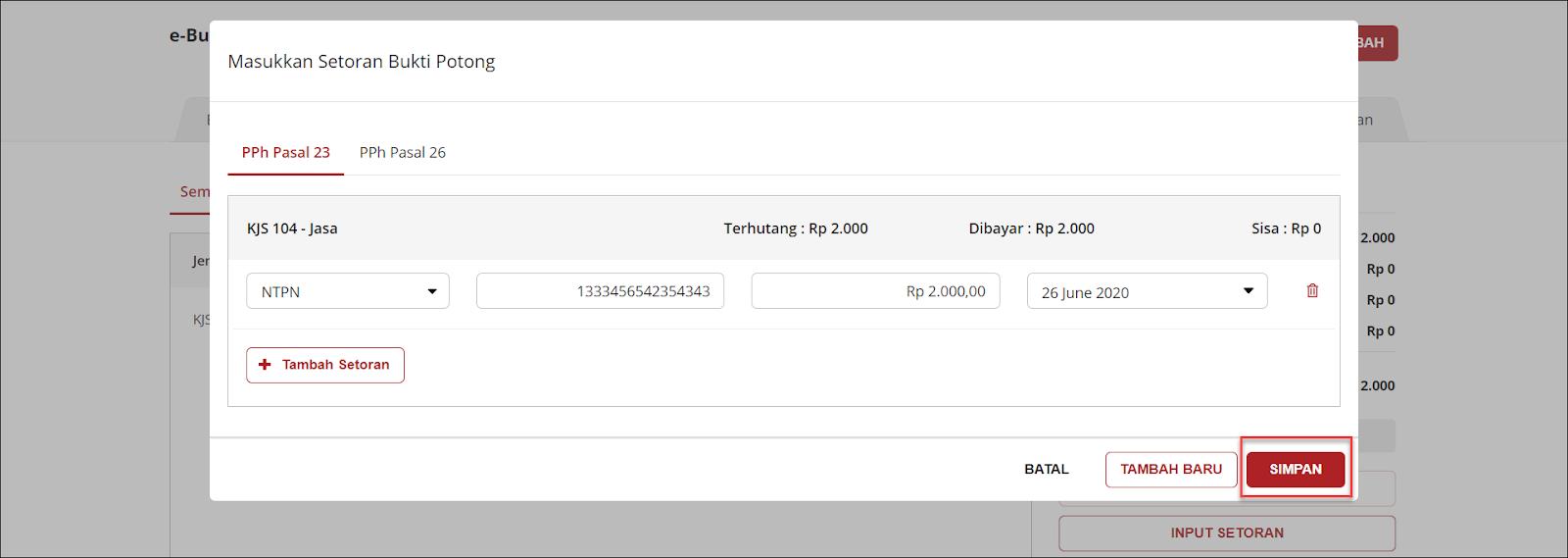 Tampilan ketika menyimpan data Setoran Bukti Potong pada e-Bukti Potong PPh 23/26 OnlinePajak Image