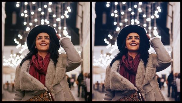 Montagem de duas fotos usando a mesma mulher com roupas de frio, olhando pra cima e com um fundo de luzes de Natal. Foto 1 sem edições e foto 2 usando o Filtro FZ-2