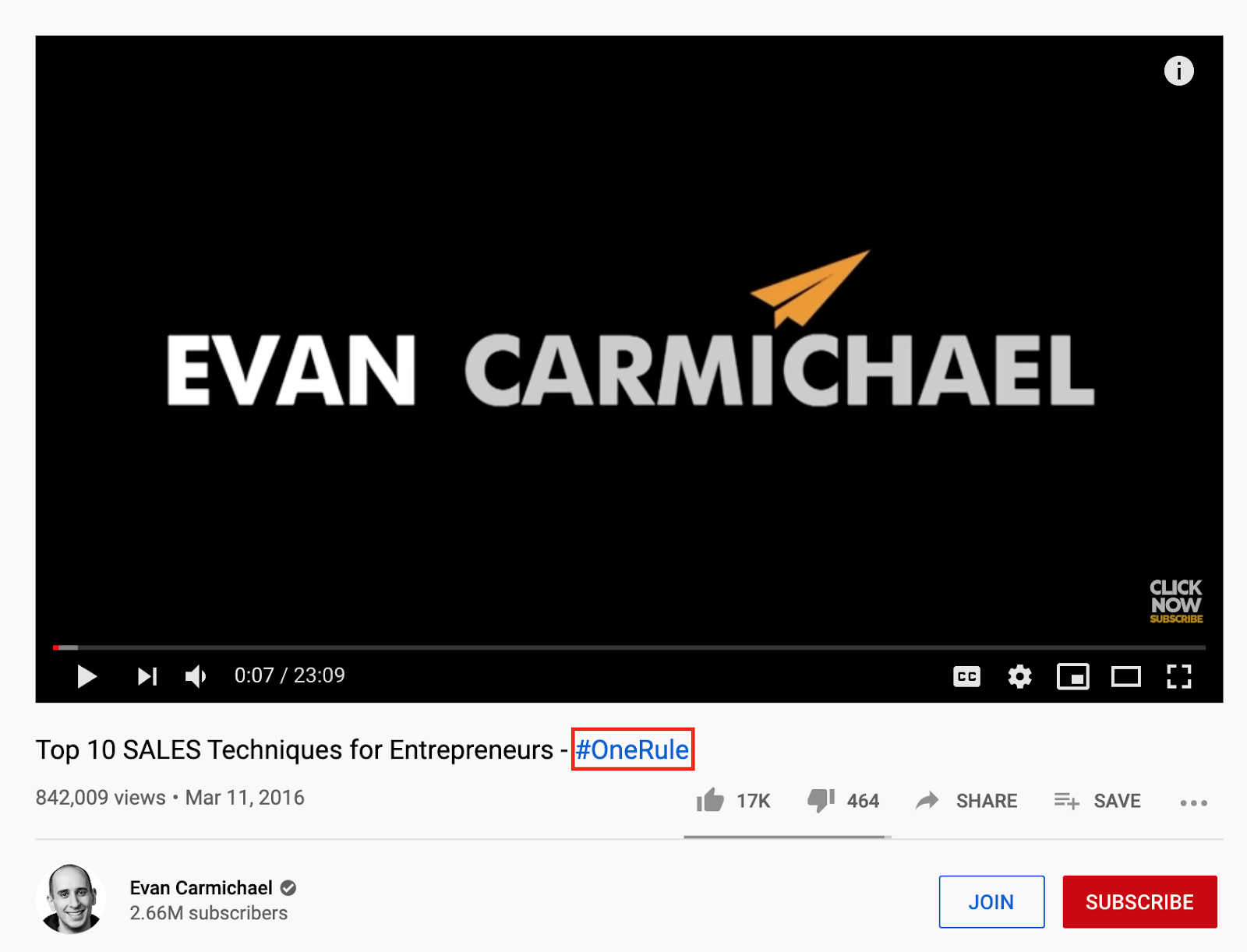 "Evan Carmichael, an entrepreneur, has created a series ""#OneRule"" for his subscribers, which is placed in the title of the video in this image."