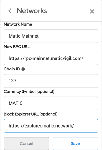 set up matic in wallet