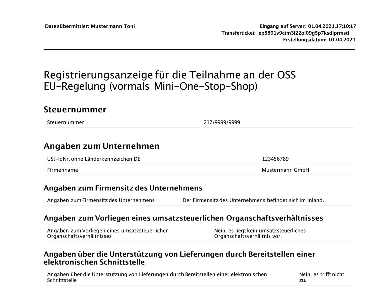 Screenshot: OSS Anmeldeformular / Registrierungsanzeige