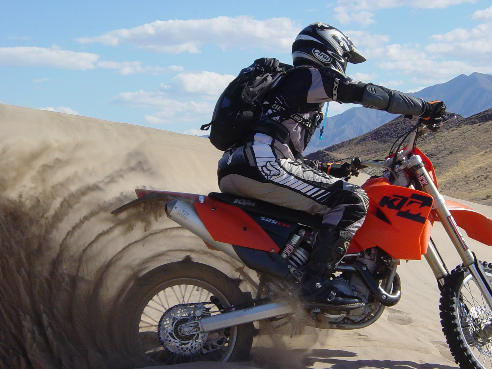 A KTM dirt bike with a paddle