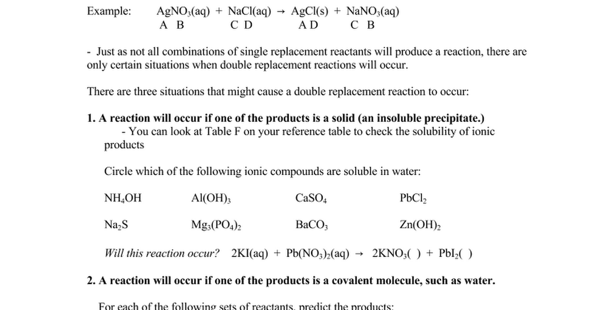 Double Replacement Worksheet notesdoc Google Docs – Worksheet 5 Double-replacement Reactions