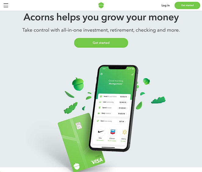 Acorns mobile app demonstration