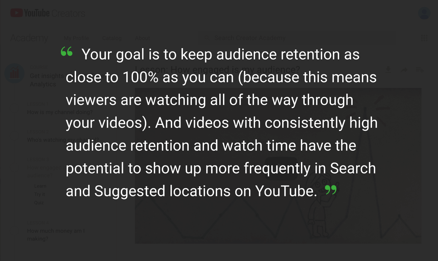 youtube audience retention quote