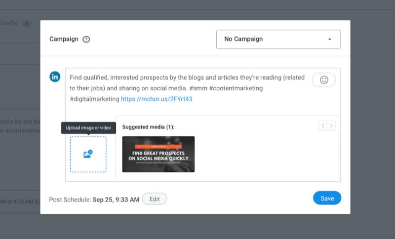 captura de pantalla de la publicación de búfer con la opción de agregar una imagen a la publicación entre otras configuraciones