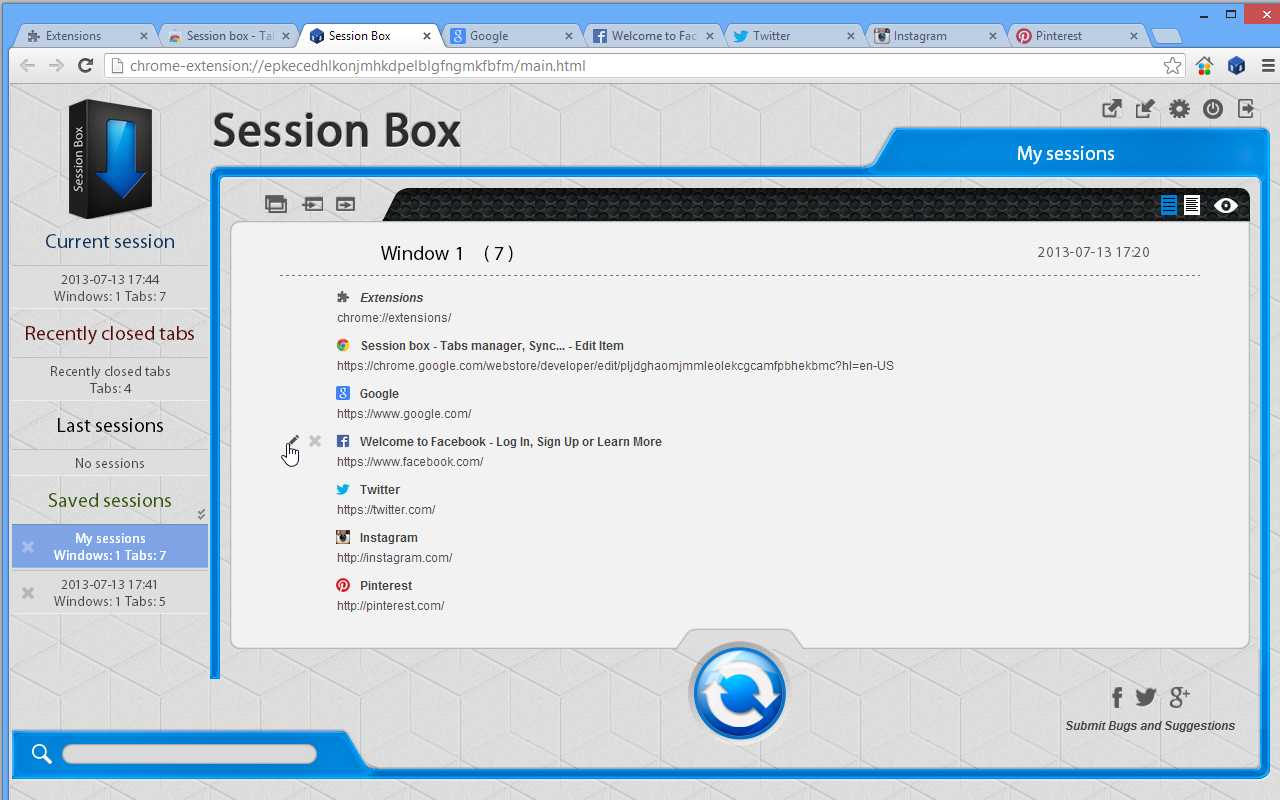 Session Box 3.2.2 Screenshots - Crx4Chrome