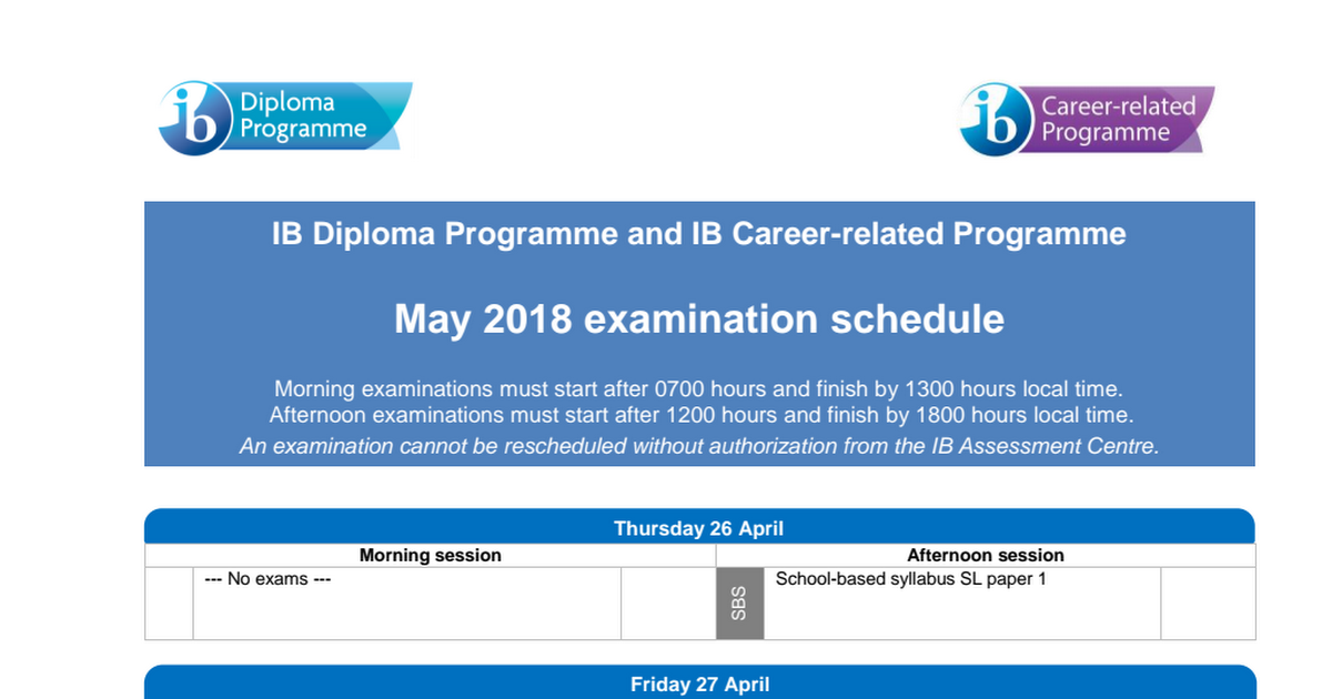 May 2018 Ib Past Papers