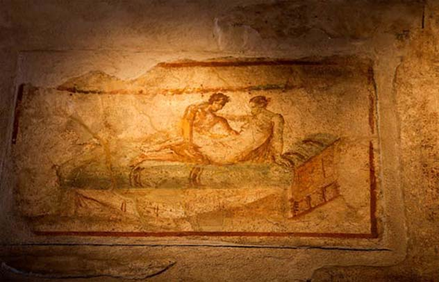 A picture from the Lupanare pleasure house in Pompeii as an early example of exploring erotica.