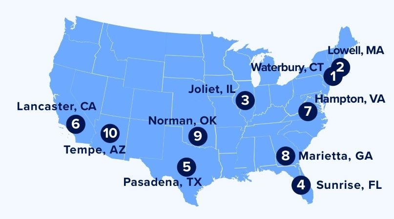 Zillow and Yelp's map of the top 10 affordable suburbs with a city feel