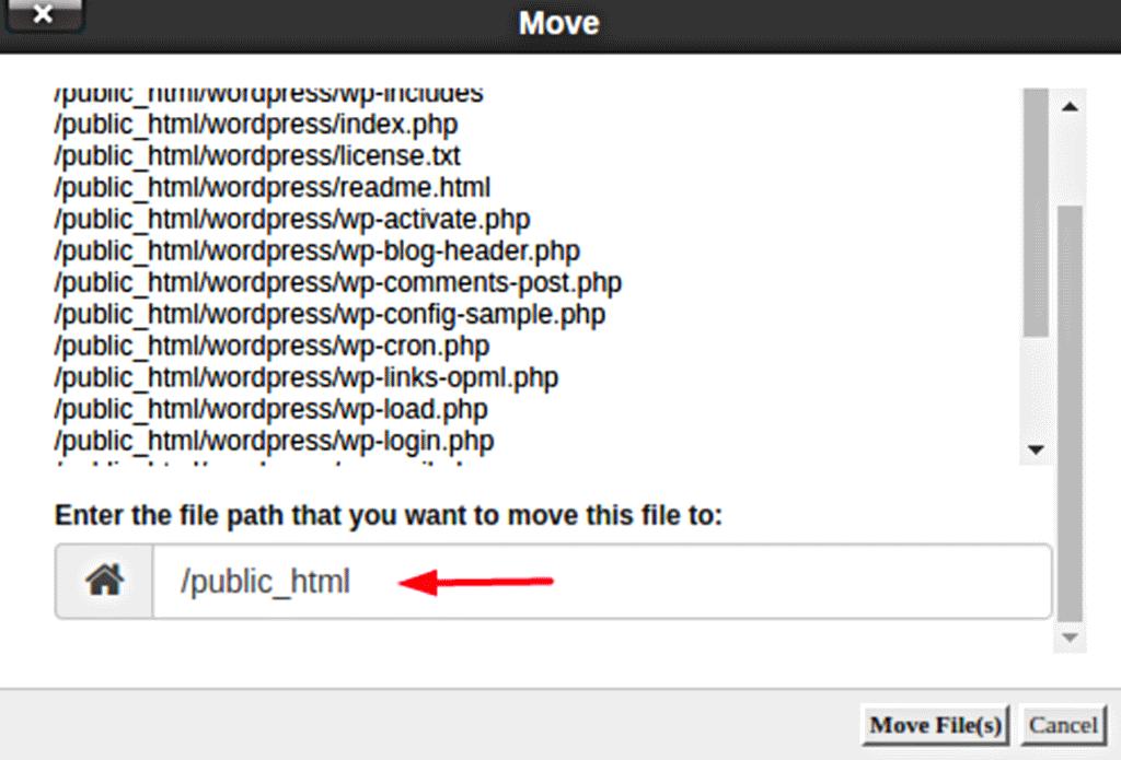 específica o local para mover uma pasta no gerenciador de arquivos