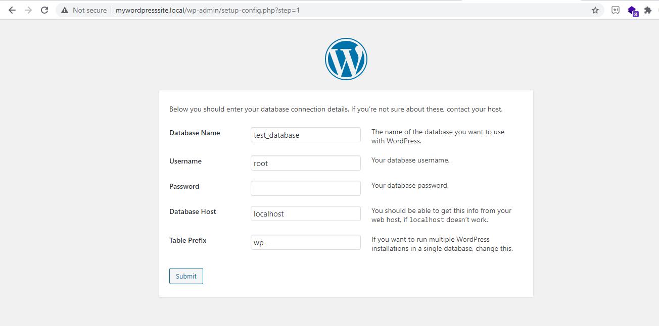 set up database configuration in worpress setup