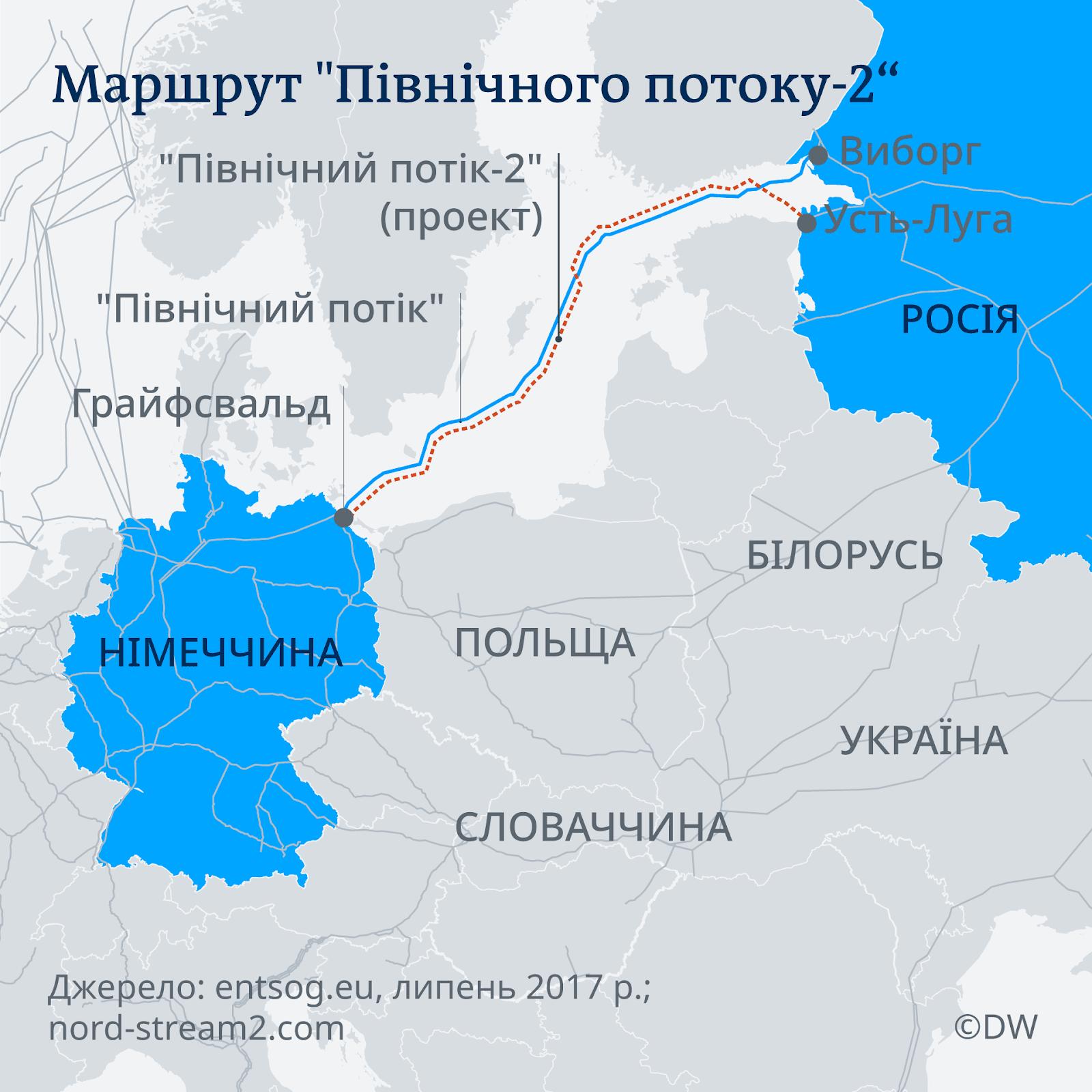 Карта проходження газопроводу Північний потік - 2