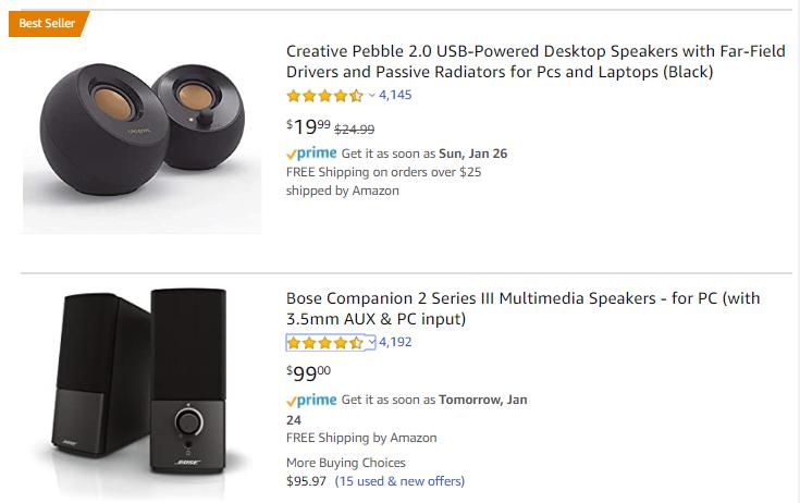 Bestseller product review scores - (c) amazon.com