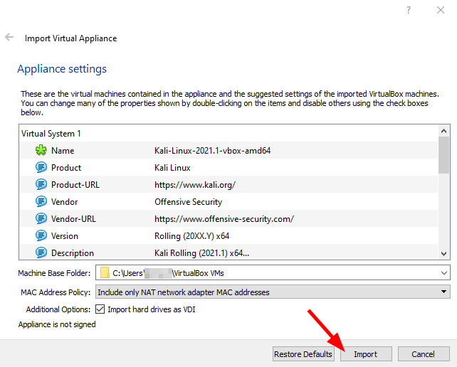 Virtual Hacking Lab - VirtualBox Appliance settings. Source: nudesystems.com