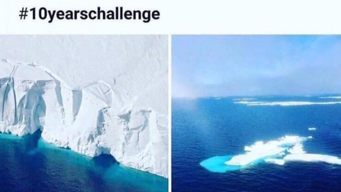 Photos prétendument prises en Antarctique à 10 ans d'intervalle