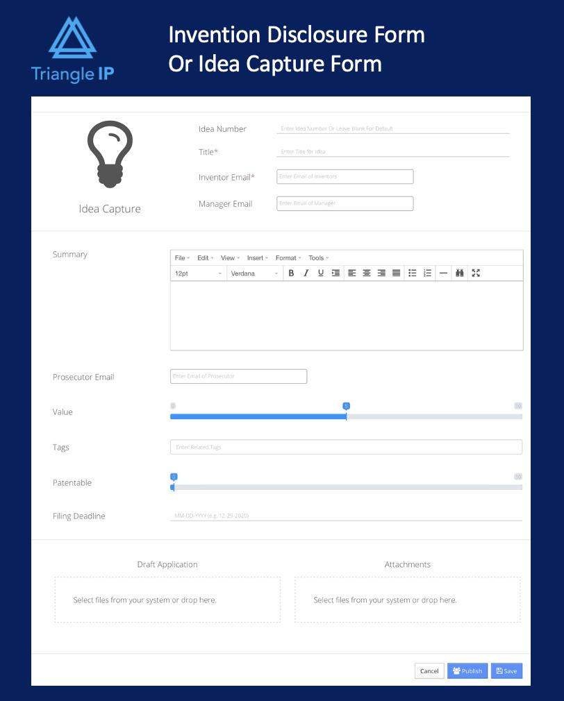 Triangle IP Idea form / invention disclosure form