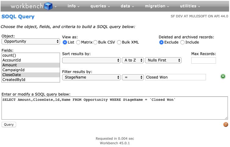 Screenshot of Workbench building an SOQL query.