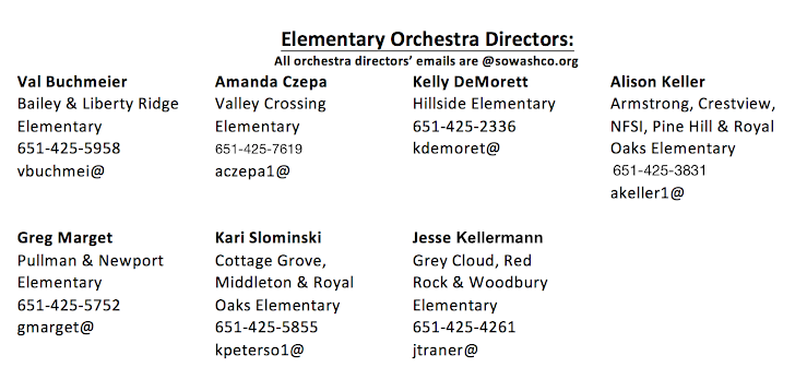 Feel free to contact your child's orchestra teacher if you have any questions or concerns.