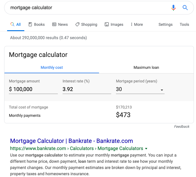 Mortgage calculator in the Google Search Results