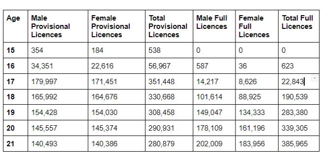 Driving licence statistics