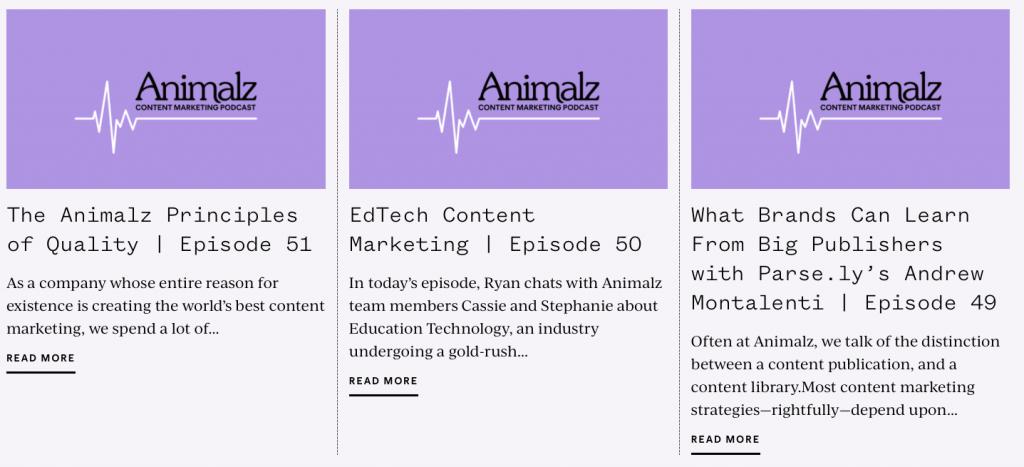 podcasts website audio inhalt idee von animalz