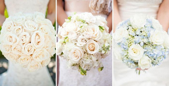 Букеты из белых и кремовых роз