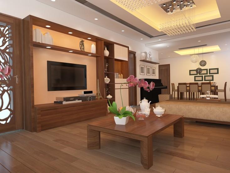 Mẫu phòng khách thông phòng ăn chủ đạo bằng gỗ