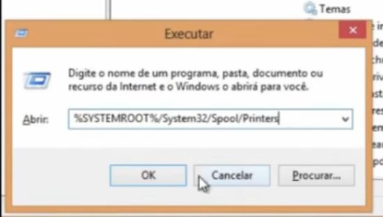 """6) Acesse a página em que ficam os arquivos temporários da impressora. Para isso basta abrir novamente o menu executar e digite o seguinte caminho para encontrar a pasta """"%SYSTEMROOT%/System32/Spool/Printers"""""""