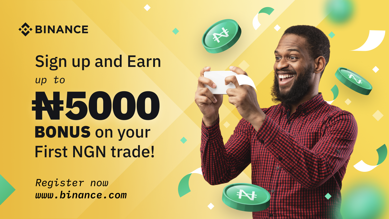 Earn Up To 5,000 NGN Just By Signing Up On Binance.com