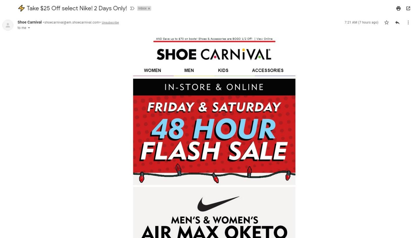 Shoe Carnival email example
