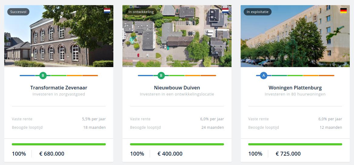 Drie projecten van de website van crowdrealestate