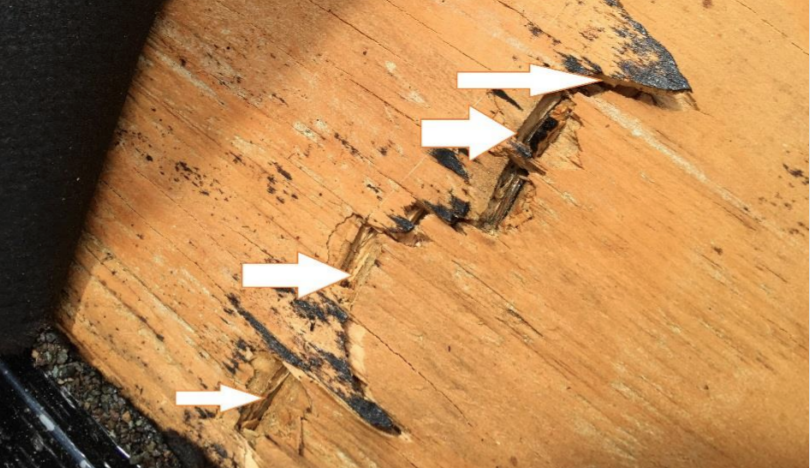 cracked roof sheathing from construction defect